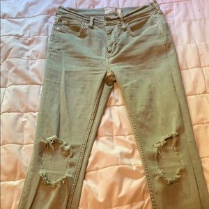 Free people jeans army green jeans